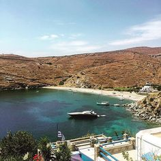 Lovely Skylos beach with wonderful crystal clear water , at Kythnos island ( Κύθνος ) . A unique kind of beauty bay and great for your relaxing moments under the hot sun