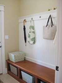 Flat DIY coat hook with beadboard