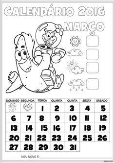 Calendário Janeiro 2016 com Numeração Bob Esponja