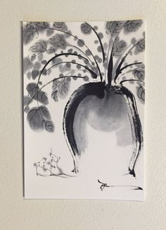Ink art drawing, Lucy gift card, Animal art, wedding gift, lucky drawing, mouse drawing, black and white, illustration card by ArtGalleryReina on Etsy