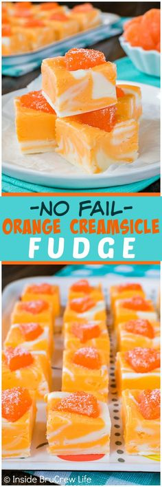 No Fail Orange Creamsicle Fudge swirls of orange and vanilla fudge and an orange candy on top makes this easy recipe a hit at summer dinners or parties! is part of Creamsicle fudge recipe - Delicious Desserts, Dessert Recipes, Yummy Food, Recipes Dinner, Lunch Recipes, Appetizer Recipes, Dinner Ideas, Breakfast Recipes, Vegetarian Recipes
