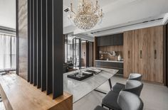 black angel Deco Design / Guan Pin on Behance Modern Flooring, Terrazzo Flooring, Interior Design Services, Interior Design Kitchen, Glass Room Divider, Urban Loft, Minimalist Apartment, Japanese Interior, Cool House Designs
