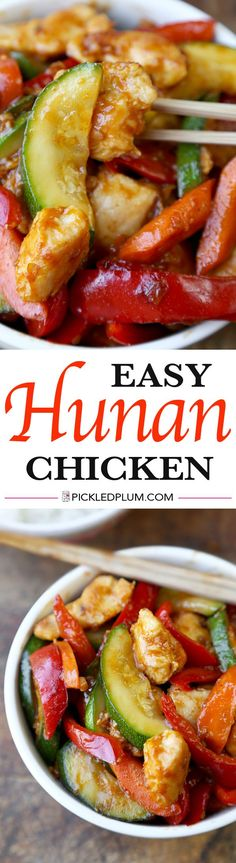Hunan Chicken Recipe - Easy chicken stir fry with vegetables and tossed in a thick sauce that's a little sweet and spicy.