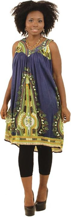 Traditional Short African Sundress in Blue