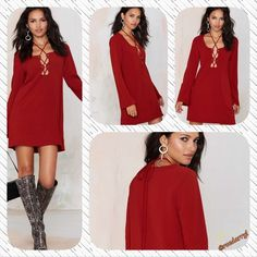 Nasty Gal Mercedes Lace Up Dress The perfect A Line dress? Yes!  With bell sleeves , lace up front with a cut out detail.  Unlined, polyester / spandex.  Runs True to Size.  Regular wash Nasty Gal Dresses