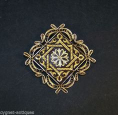Estate Damascene Toledo Gold Decorated Brooch Pin with Filigree | eBay