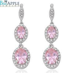 Dangle Earrings 925 Sterling Silver Oval Cut Pink Topaz CZ Round Halo Russian Iced Out Diamond CZ Drop Dangle Fancy Bridal Earrings Gift