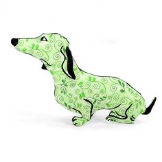 decorative pillow, dog pillow, animal pillow, dachshund dog shaped pillow softie doxie green leaf fabric by pattihaskins on Etsy