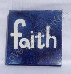 canvas acrylic painting faith size 15x15 cm nursery