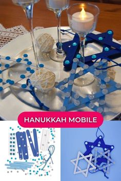 Kids will learn about Hanukkah and the meaning of the Star of David with colorful ornament kit. Our Star of David Hanukkah project features blue Star of David shapes adorned with craft gems and glitter shapes. Kids can hang their completed projects up as Hanukkah decorations! #STEAMforkids #learningthroughplay #kidsactivities #hanukkahproject #childrensartwork #kidsactivitiesathome #kidsactivityideas #playtoshine