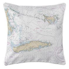 PR: Vieques, Culebra, PR Nautical Chart Pillow