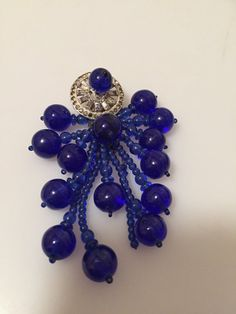 Early Miriam HASKELL Dress Clip Cobalt Glass by thepopularjewelry