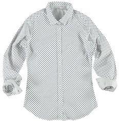 Camicia manica lunga a pois Joggy, 100% cotone con interno colletto e polsini in micro fantasia pois - € 34,90   Nico.it