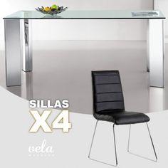 Mesa de comedor fija en cristal transparente y sillas color NEGRO decoradas con costuras horizontales.
