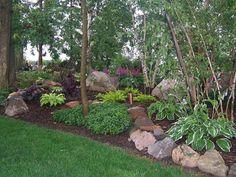 Build up a hill on my tree edged hill!    Shade Garden, Landscape Design,Hosta,Astble, Heuchera, Gardens, Landscaping, Rock Garden, Shade Garden by Nile Fair-Juul