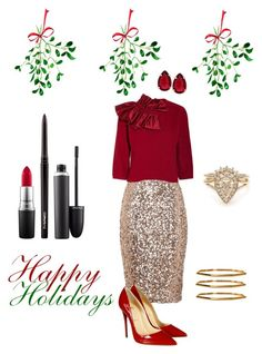 """""""Tis' the Season.......To Be Jolly"""" by campanellinoo on Polyvore featuring French Connection, MAC Cosmetics, Christian Louboutin, Emporio Armani, T Tahari and Plukka"""