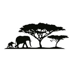wall tattoo elephant mother with elephant baby and trees #silhouette #digistamp #template