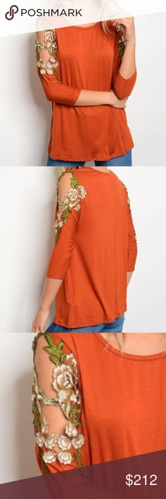RUST COLD SHOULDER TOP! NEW!  RUSTY ORANGE 3/4 sleeve jersey top with floral patch details on col shoulder sleeves and a scoop neckline.  Modeled in a size small True to size Made in the USA 96% RAYON 4% SPANDEX HVHOUSEWIFE Tops Blouses