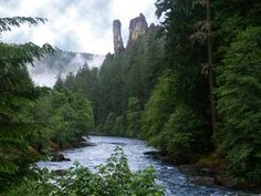A view of the wild and scenic North Umpqua River, with its towering rock spires, in southwest Oregon.