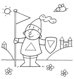 Kleurplaat Pompom: Ridder