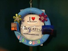 """I Heart Muscatine"" Wreath created by          Hannah Wilke, Convention & Visitors Bureau"
