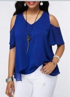 V Neck Royal Blue Chiffon Overlay Blouse Cheap Womens Tops, Trendy Tops For Women, Blouse Styles, Blouse Designs, Casual Outfits, Fashion Outfits, Plus Size Blouses, Mode Style, Trendy Dresses