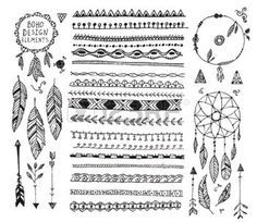 boho: vector floral decor set, collection of hand drawn doodle boho style dividers, borders, arrows design elements, dream catchers. Isolated. May be used for wedding invitations, birthday cards, banners Illustration