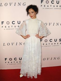 Ruth Negga stole the spotlight in a Valentino Spring/Summer 2017 white gown to the Loving The Film premiere at Samuel Goldwyn Theater in LA.