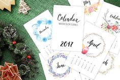 Watercolor Calendar 2017 Template  @creativework247