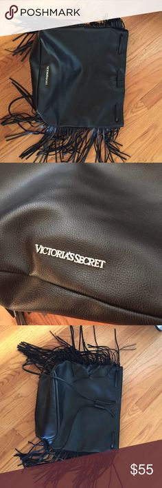 Black fringe Victoria's Secret bag Brand new black fringe leather Victoria Secret bag. Received as a gift and never used it. Great condition. Victoria's Secret Bags Backpacks