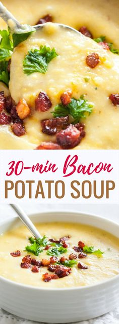 this easy potato bacon soup is ready in less than 30 minutes and loaded with crispy