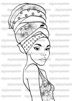 African woman pattern for tin African Beauty, African Women, African Art, Adult Coloring Pages, Hand Coloring, African Quilts, African Paintings, Digital Stamps, Black Art