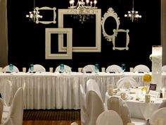 Love The Trend Of Ornate Frames Cluster Them Together Along With Some Chandeliers Pipe And Drape BackdropHead Table BackdropGold Bridal