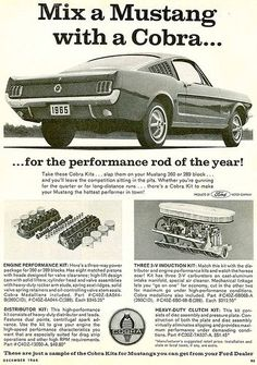 1965 Mustang ad for Cobra equipement 1965 Mustang, Mustang Cobra, Mustang Fastback, Shelby Mustang, Ford Lincoln Mercury, Classic Mustang, Ford Classic Cars, Cobra Kit, Bicicletas Raleigh