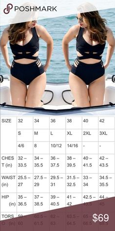 XL-Plus Size Sexy Strappy Black Monokini XL-Plus Size • Sexy Strappy Black Monokini • Gorgeous strappy high waist monokini with side cutouts• 2017 Spring / Summer swimsuit trend / Spring Break / Vacation / Beach / Poolside Hot ! Swim One Pieces
