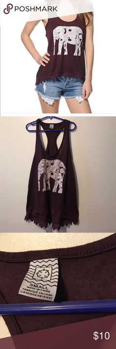 Burgundy Elephant Empire Tank The cutest tank! Has crochet at the bottom. Size small- excellent condition with an adorable elephant on the front. PacSun Tops Tank Tops