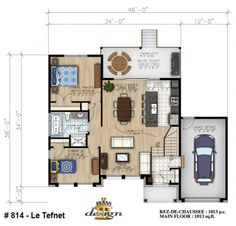 This contemporary Prairie-style home (Plan has 1013 square feet of living space. The floor plan includes 2 bedrooms. Prairie House, Prairie Style Houses, Bungalow, Backyard Cottage, Granny Flat, Room Planning, House Layouts, Plan Design, Architecture