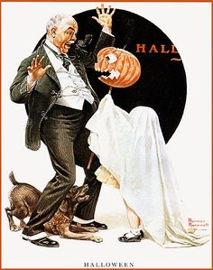 Norman Rockwell-- Halloween, All Hallows Eve, Trick or Treat, Witch, Cauldron, Goblin, Ghost, Black Cat, Bat, Skull, Spiders, Ghouls, Scarecrow, Grim Reaper, Grave Keeper, Vampire, Cobwebs, Jack-O-Lantern, Pumpkin, Spooky, Scary, Haunting, Creepy, Frightening, Full Moon, Autumn, Fall, Magic Potion, Spells, Magic, Haunted