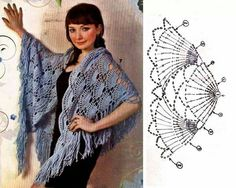 lovely crochet shawl worked continuously from base - very clever