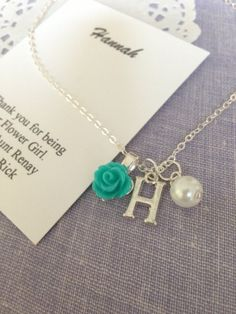 Flower girl necklace, rose, initial, pearl, FREE personalized notecards. by buysomelove on Etsy https://www.etsy.com/listing/215653029/flower-girl-necklace-rose-initial-pearl