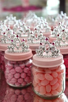 Baby food jars filled with jelly beans with a crown on top will impress your little princess.  See more first girl birthday party ideas at www.one-stop-party-ideas.com