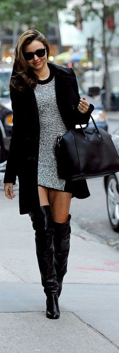 Stunning Givenchy Street Fashion Look. The most trending pieces this season glitter dress, high boots and classical jacket.