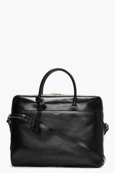 SAINT LAURENT Black buffed leather briefcase