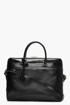 SAINT LAURENT Black buffed leather briefcase