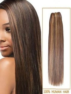 #4/27 Brown/Blonde Straight Human Hair Wefts