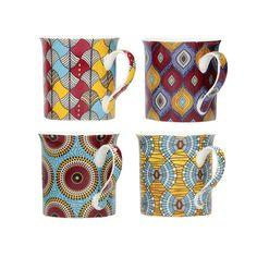 Sada hrnčekov Ethnic Zanzibar 4ks -  300ml     #keramika#hrnceky#kava#kuchyna#jedalen Mugs, Medium, Tableware, Kitchen Dining Rooms, Tumblers, Tablewares, Essen, Dinnerware, Mug