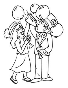 This Free Printable New Years Eve Coloring Page Of People Cheering At Midnight Is A Terrific Activity For Kids Who Love The Holiday