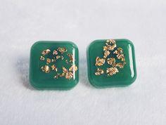 Jade Green Square Ear Studs - Elegant Handmade Gold Flakes Resin Earrings