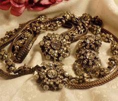 SPECTACULAR-Rare-Vtg-Miriam-Haskell-Crystal-Rhinestone-Necklace-Bracelet-Ear