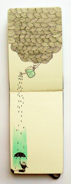 Rain art on moleskine Illustration Tumblr, Illustrations, Moleskine, Sketchbook Inspiration, Sketchbook Ideas, Grafik Design, Art Design, Doodle Art, Painting & Drawing